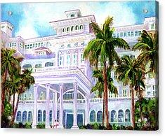 Moana Surfrider Hotel On Waikiki Beach #206 Acrylic Print by Donald k Hall
