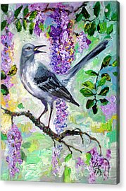 Mockingbird Song In Wisteria Acrylic Print by Ginette Callaway