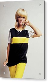 Model In Black And Yellow Acrylic Print by David McCabe