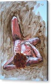Model Resting 1 Acrylic Print by Ujjagar Singh Wassan