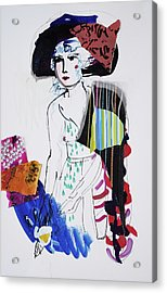 Model With Fashion Hat And Chawl Acrylic Print by Amara Dacer