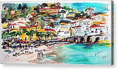 Modern Amalfi Watercolor And Ink Painting Acrylic Print