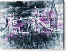 Modern-art London Tower Bridge And Big Ben Composing  Acrylic Print by Melanie Viola