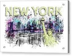 Modern Art New York City Skyline Splashes - Yellow Acrylic Print