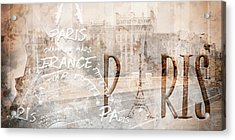 Modern Art Paris Collage Acrylic Print by Melanie Viola
