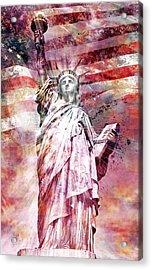 Modern-art Statue Of Liberty - Red Acrylic Print by Melanie Viola