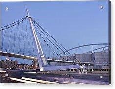 Acrylic Print featuring the photograph Modern Bridge Zaragoza Delicias by Marek Stepan