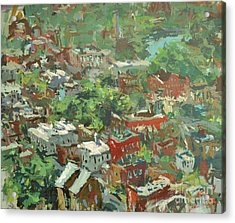 Acrylic Print featuring the painting Modern Cityscape Painting Featuring Downtown Richmond Virginia by Robert Joyner