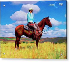 Modern Cowboy Acrylic Print by Snake Jagger