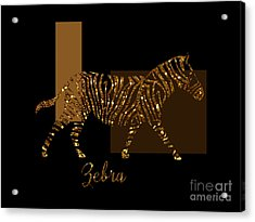 Modern Golden Zebra, Gold Black Brown Acrylic Print by Tina Lavoie