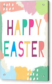 Modern Happy Easter- Art By Linda Woods Acrylic Print