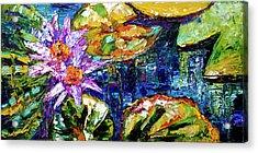 Modern Impressionist Lily Pond Reflections Acrylic Print