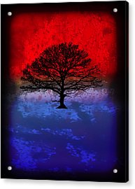 Modern Paintings Abstract Tree Wall Art Acrylic Print by Robert R Splashy Art