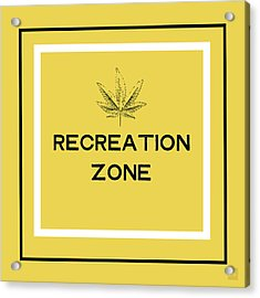 Modern Recreation Zone Sign- Art By Linda Woods Acrylic Print by Linda Woods