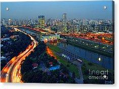 Modern Sao Paulo Skyline - Cidade Jardim And Marginal Pinheiros Acrylic Print