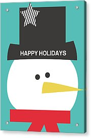 Modern Snowman Happy Holidays- Art By Linda Woods Acrylic Print by Linda Woods