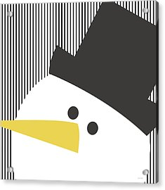 Modern Snowman On Stripes- Art By Linda Woods Acrylic Print by Linda Woods