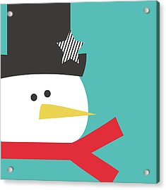 Modern Snowman With Star- Art By Linda Woods Acrylic Print