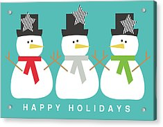 Modern Snowmen Happy Holidays- Art By Linda Woods Acrylic Print by Linda Woods