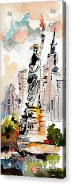 Acrylic Print featuring the painting Modern Statue Of Liberty New York Watercolor by Ginette Callaway
