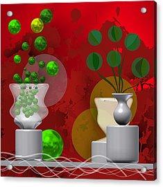 Modern Still Life In Bright Red Acrylic Print