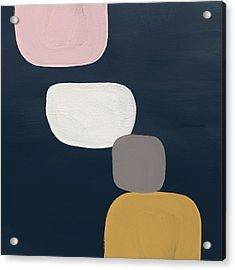 Modern Stones Navy 1- Art By Linda Woods Acrylic Print