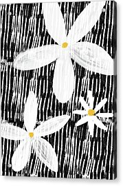 Acrylic Print featuring the mixed media Modern White Flowers- Art By Linda Woods by Linda Woods