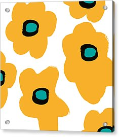 Modern Yellow Flowers- Art By Linda Woods Acrylic Print