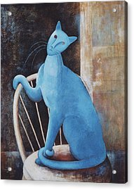 Modigliani's Cat Acrylic Print by Eve Riser Roberts