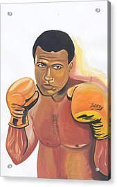 Acrylic Print featuring the painting Mohammed Ali by Emmanuel Baliyanga