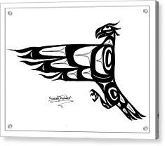 Mohawk Eagle Black Acrylic Print by Speakthunder Berry