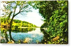 Acrylic Print featuring the photograph Mohegan Lake By The Bridge by Derek Gedney
