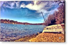 Acrylic Print featuring the painting Mohegan Lake Lonely Boat by Derek Gedney