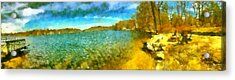 Acrylic Print featuring the painting Mohegan Lake Panoramic Beach by Derek Gedney