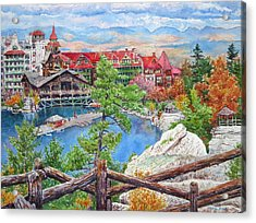 Mohonk Fall View From Cliffs Acrylic Print by Mira Fink