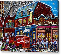 Moishe's On The Main Montreal Memories Street Hockey Art Snowy Canadian Winter Painting C Spandau Acrylic Print