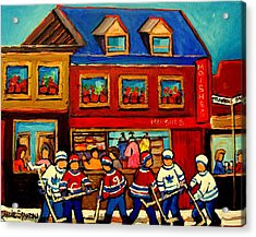 Moishes Steakhouse Hockey Practice Acrylic Print by Carole Spandau