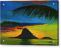 Mokolii Sunset #80  Acrylic Print by Donald k Hall
