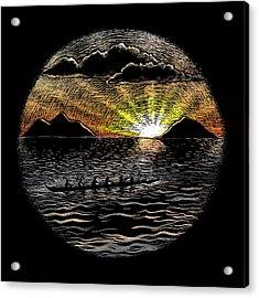 Mokulua Sunrise Paddle Acrylic Print by Kirsten Carlson