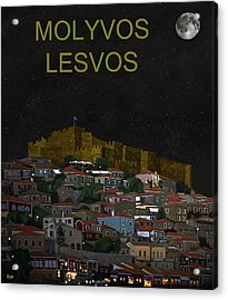 Molyvos By Night  Molyvos Lesvos Greece   Acrylic Print by Eric Kempson