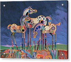 Acrylic Print featuring the painting Mom And Foals by Bob Coonts