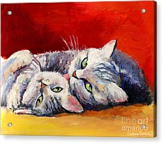 Mom And Kitten Cat Painting Acrylic Print