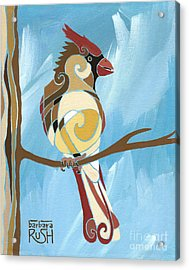Moms Day Off Female Cardinal Painting Acrylic Print