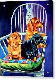 Mom's In The Kitchen - Dachshund Acrylic Print by Lyn Cook