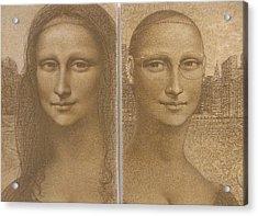 Mona Lisa Past And Present Acrylic Print by Gary Kaemmer