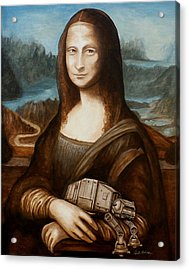 Acrylic Print featuring the painting Mona Lisa What You Smiling At At by Al  Molina