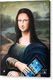 Mona Lisa With Ipad Acrylic Print