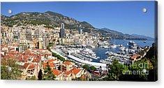 Acrylic Print featuring the photograph Monaco Port Hercule Panorama by Yhun Suarez