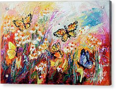 Monarch Butterflies And Chamomile Flowers Acrylic Print