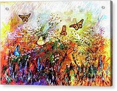 Monarch Butterflies In Garden Acrylic Print